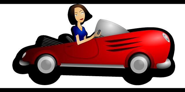žena v autě ilustrace